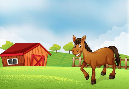 Illustration of a horse at the farm with a barn at the back