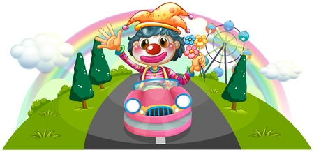 Illustration of a happy female clown riding on a pink car on a white background Stock Vector - 19645328