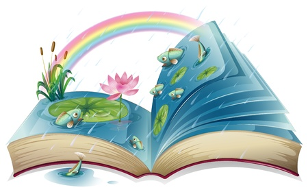 book open: Illustration of a book with an image of a pond on a white background