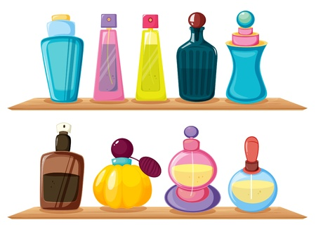 Illustration of the wooden shelves with different perfumes on a white background Vector