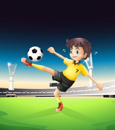 Ilustración de un niño jugando en un amarillo uniforme del fútbol en la cancha de fútbol en el campo de fútbol