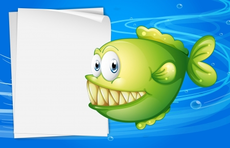 sea creature: Illustration of a green piranha beside an empty signboard