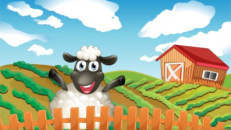 Illustration of a black sheep inside the fence Vector