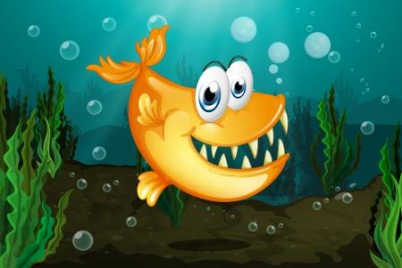 seaweeds: Illustration of a yellow piranha near the seaweeds Illustration