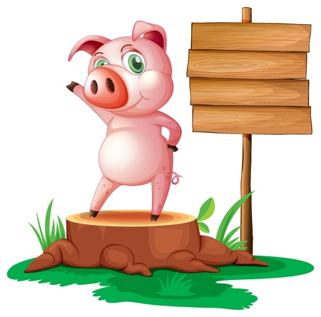 timber cutting: Illustration of a pig above a stump near the empty signage on a white background
