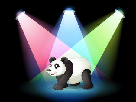 limelight: Illustration of a stage with a giant panda Illustration