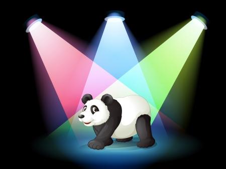 �  giant panda: Ilustraci�n de un escenario con un panda gigante