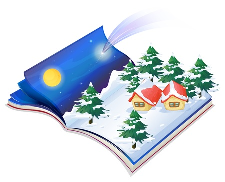 story book: Illustration of a book with a drawing of a snowy night on a white background