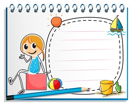 nametag: Illustration of a notebook and a pencil with an image of a girl sitting on a box on a white background Illustration