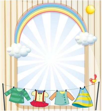 Illustration of the clothes hanging under the sun near an entrance Stock Vector - 19645211