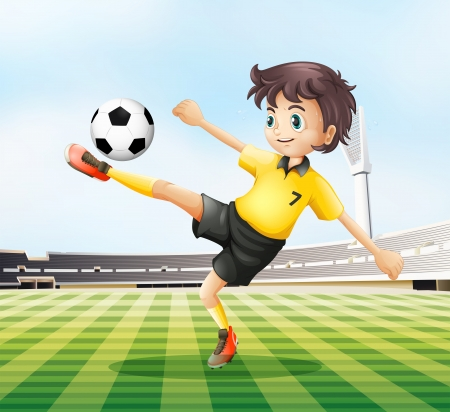 footwork: Illustration of a football player kicking the ball