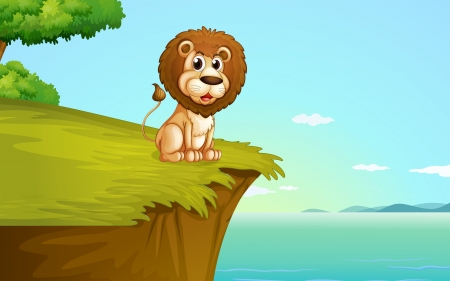 hilltop: Illustration of a lion sitting at the cliff