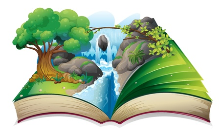 storyteller: Illustration of a book with an image of a forest on a white background Illustration