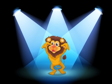 stageplay: Illustration of a scary lion at the center of the stage