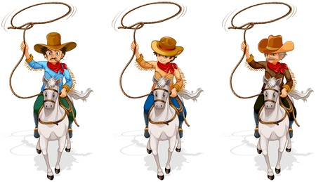 Illustration of the two old and one young cowboys on a white background  Vector