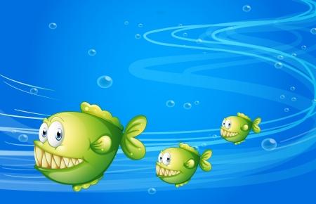 recursos naturales: Ilustración de los tres pirañas verdes bajo el mar