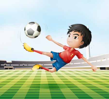 footwork: Illustration of a boy playing soccer in the soccer field Illustration