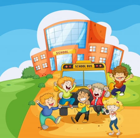 school building: Illustration of a school bus in front of the school
