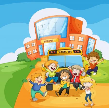 Ilustración de un autobús escolar en el frente de la escuela