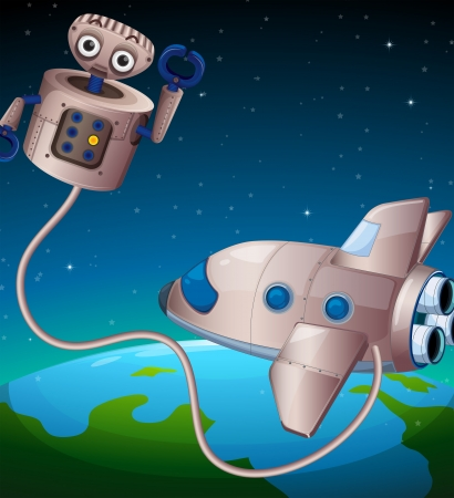 computerized: Illustration of a robot and an aircraft at the outerspace