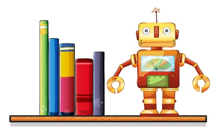 storyteller: Illustration of a wooden shelf with a robot and books on a white background