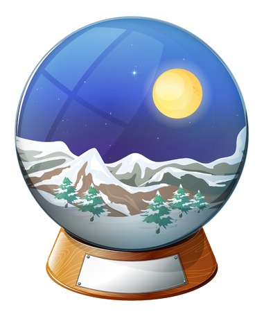 Illustration of a dome with an image of a snowy mountain on a white background Vector