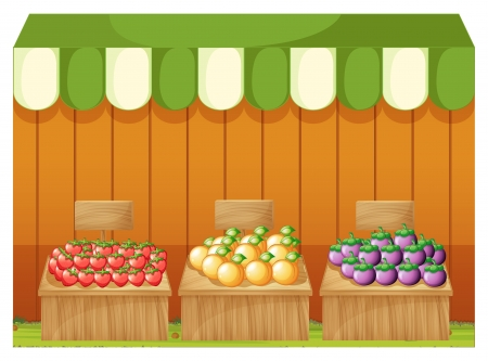 plant stand: Illustration of the three fruitstands with empty boards on a white background Illustration