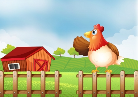 Illustration of a farm with a hen at the fence