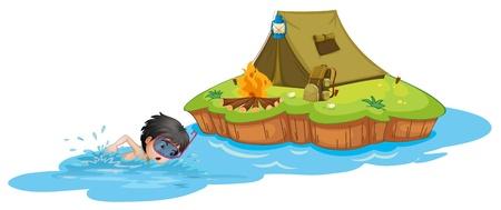 Illustration d'un enfant nager près d'un terrain de camping sur un fond blanc Vecteurs