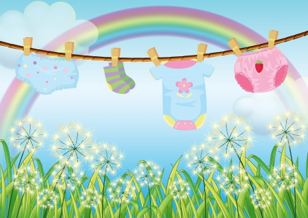 Illustration of the hanging clothes for toddlers