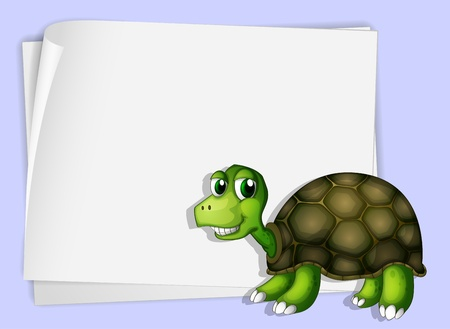 Illustration of a turtle beside an empty paper