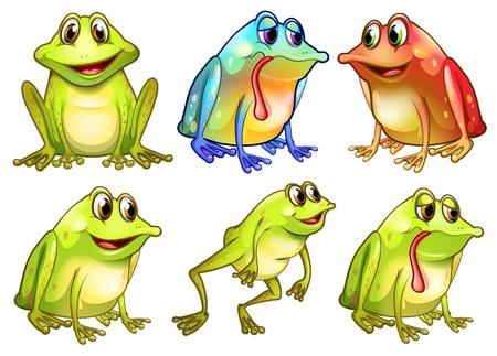 blue frog: Ilustraci�n de los seis ranas diferentes en un fondos blancos