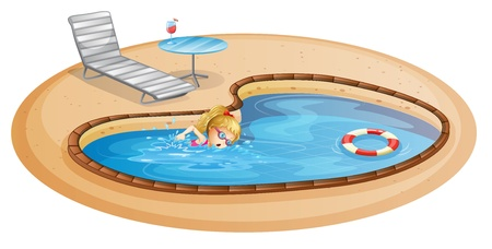breakable: Illustration of a girl enjoying the pool on a white background
