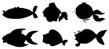 Illustration of the different fishes in black color on a white background Vector