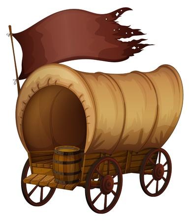 carreta madera: Ilustraci�n de un carro nativa sobre un fondo blanco