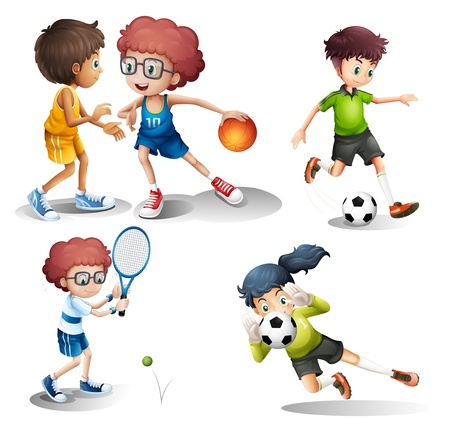 engaging: Illustration of the kids engaging in different sports on a white background Illustration