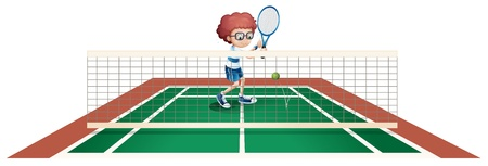 teammates: Illustration of a boy playing tennis at the tennis court on a white background