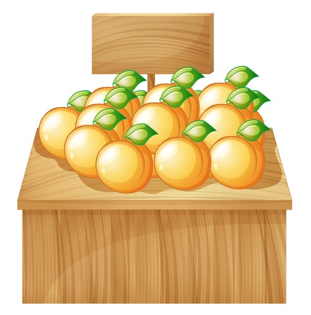 plant stand: Illustration of a fruitstand with empty signboard on a white background