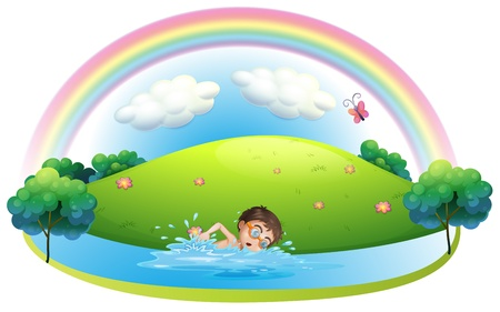 Illustration of a boy swimming in the river near the hill on a white background Stock Vector - 19645300
