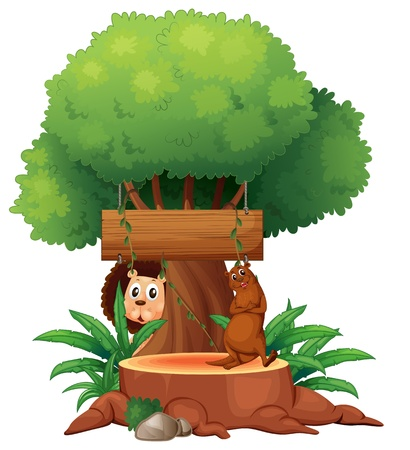tree stump: Illustration of a tree with animals and an empty signboard on a white background