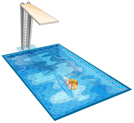 Illustration of a girl swimming at the pool with a diving board on a white background