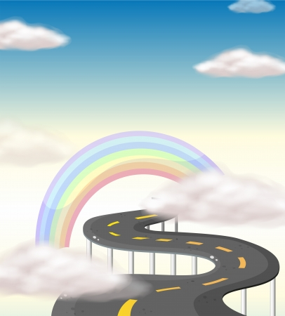Illustration of a long winding road going to the rainbow Vector