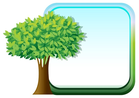 Illustration of a big green tree beside an empty template on a white background Vector