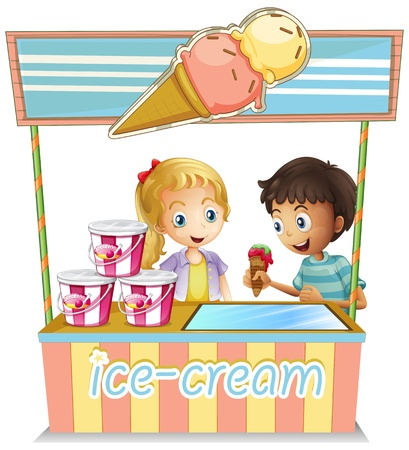 Illustration of the two young kids at the ice cream stand on a white background Vector