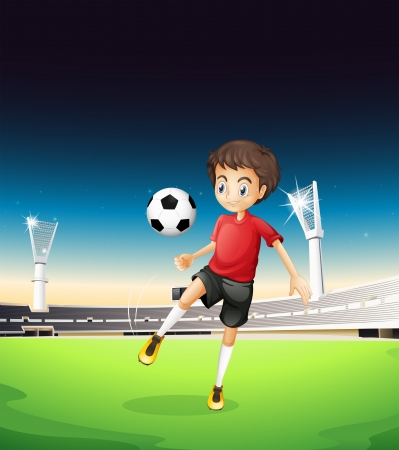 Illustration of a boy playing soccer alone Stock Vector - 19645370