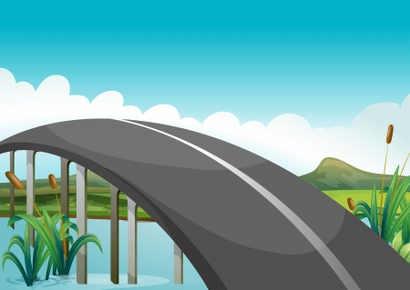 curve road: Illustration of a curve road above the lake Illustration