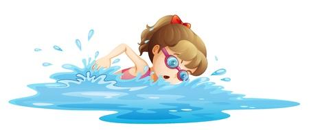 Illustratie van een meisje gekleed in een roze zwembroek zwemmen op een witte achtergrond