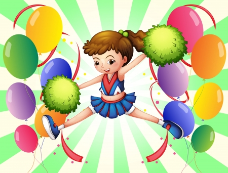Illustration of the colorful balloons with a young cheerer on a white background Vector