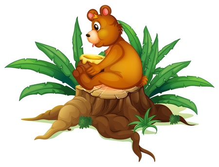Illustration of a bear sitting on a stump with leaves on a white background Vector