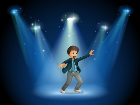 Illustration of a stage with a boy dancing at the center Vector